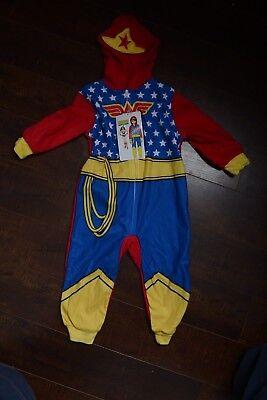 Girls Wonder Woman Pajamas Cosplay Justice League Union Suit Blanket Sleeper 2T (Toddler Wonder Woman Pajamas)