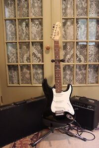 Squire Electric Guitar, Amp, Case and Stand