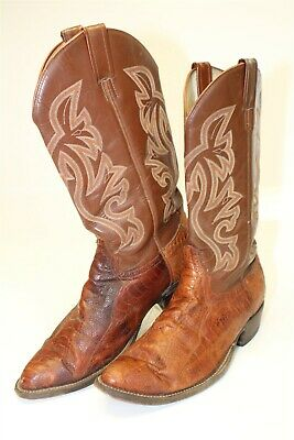 Hand Made Mens Size 11 D Ostrich Leg Skin and Leather Pull On Cowboy Boots J890 Ostrich Leg Skins