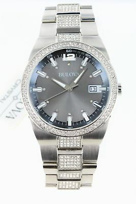 Bulova Men 96B221 Crystal Analog Display Japanese Quartz Watch Scratched Crystal