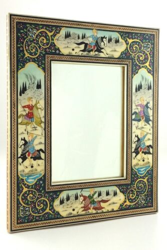Hand Painted Persian Artwork Men On Horses Polo Scene Marquetry Mirror U001