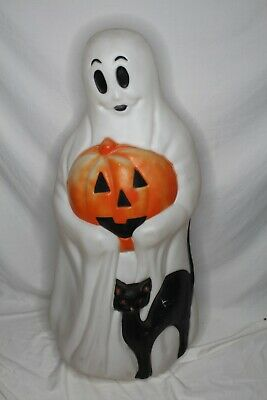 """Large 34"""" Vintage Empire Lighted Blow Mold Ghost Holding Pumpkin With Black Cat"""