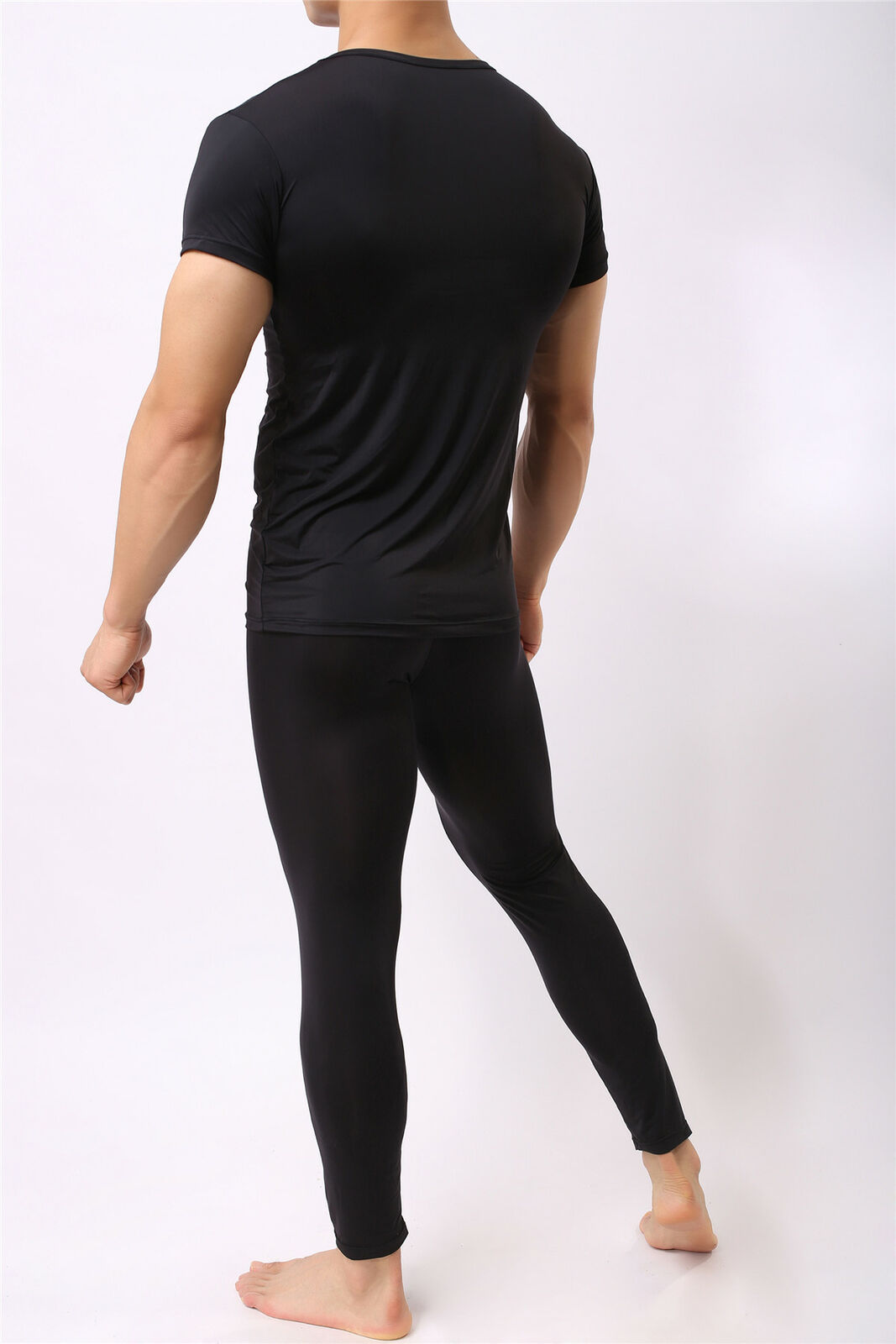 Mens Sports Casual Boxer Legging Pants T-shirt Thin Tight Gym Solid Underwear