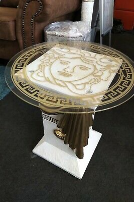 versace logo lamp table in off white and gold with medusa on glass and base
