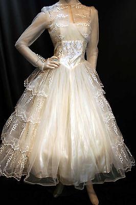 S Champagne Tulle Satin Vtg 50s Strapless Sylvia Ann Wedding Gown Dress Bolero