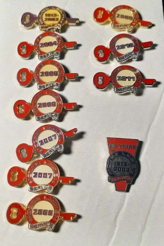 Lot of 11 Moose Lodge/Legion Service Key Pins