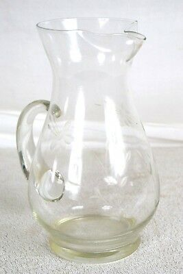 TALL GLASS PITCHER CLEAR SHEER SEE THROUGH WITH FLORAL CARVINGS COLLECTIBLE Glass Transparent Pitcher