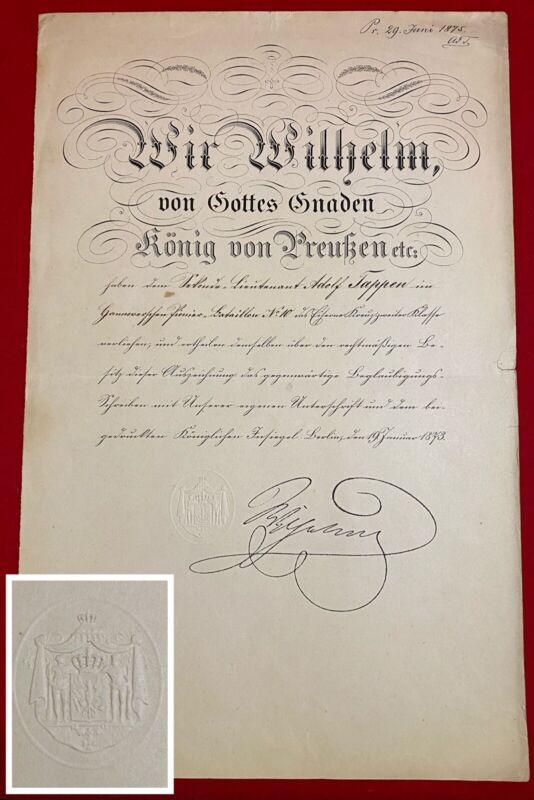 *** Prussian Imperial GERMAN EMPEROR Wilhelm Kaiser Wilhelm I Signature Document