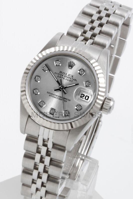 Rolex Ladies Datejust Steel Silver Diamond Dial 18k Gold Jubilee 69174 Quickset