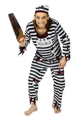 Zombie Herren Kostüm irrer Gefangener Oberteil Hose und Mütze Halloween
