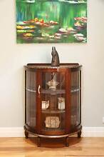 Carved Antique Vintage Leadlight Glass Display Cabinet Bow Front Williamstown Hobsons Bay Area Preview