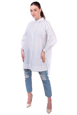 RRP €600 ERMANNO SCERVINO Shirt Blouse Size 44 / M-L Embroidered Eyelets