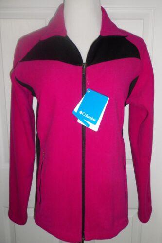 NEW COLUMBIA Womens Hybrid Full Zip Fleece Jacket Midnight Lake $75 PINK Black L