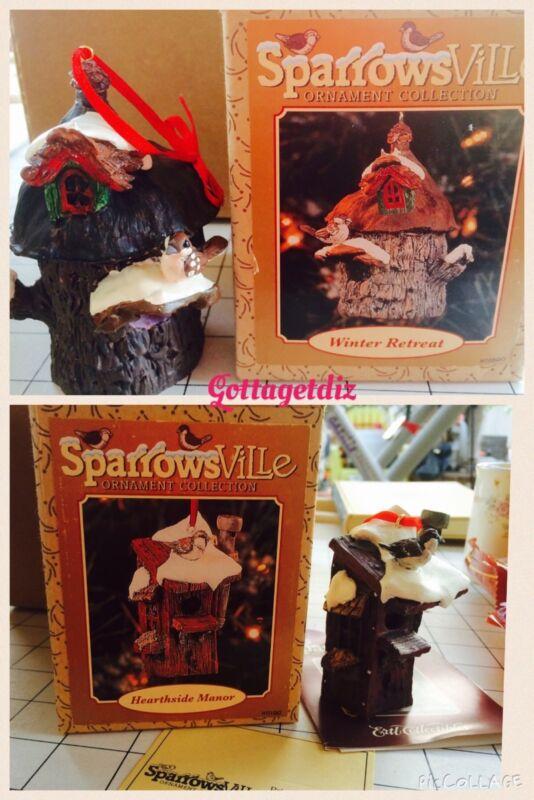 2 SparrowsVille Ornament Hearthside Manor & Winter Retreat 1996 Ertl
