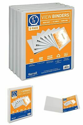 Samsill 3 Ring Durable View Binders - 8 Pack, 1/2 Inch Round Ring , Non-Stick Cu