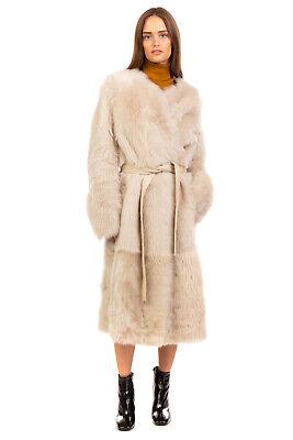 RRP €3500 YVES SALOMON Long Lamb Fur Wrap Coat Size 36 / S Reversible Tie Waist