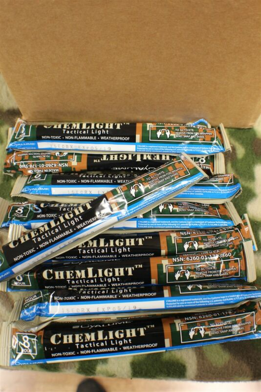 """6"""" Blue Cyalume ChemLight Tactical Light sticks 8 Hours Box of 10 Mil Issued"""
