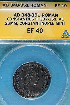 AD348-351 ANACS EF40 Roman Constantius 2, Constantinople Mint!! #B7121