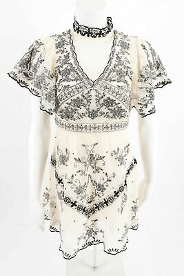 NWT ZARA White Black LIMITED EDITION EMBROIDERED DRESS Beading Size S #1880