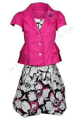 Mädchen 4pc Fuchsien Set Fancy Schwarz & Weiß Blumenmuster Kleid Größen 7 bis 16