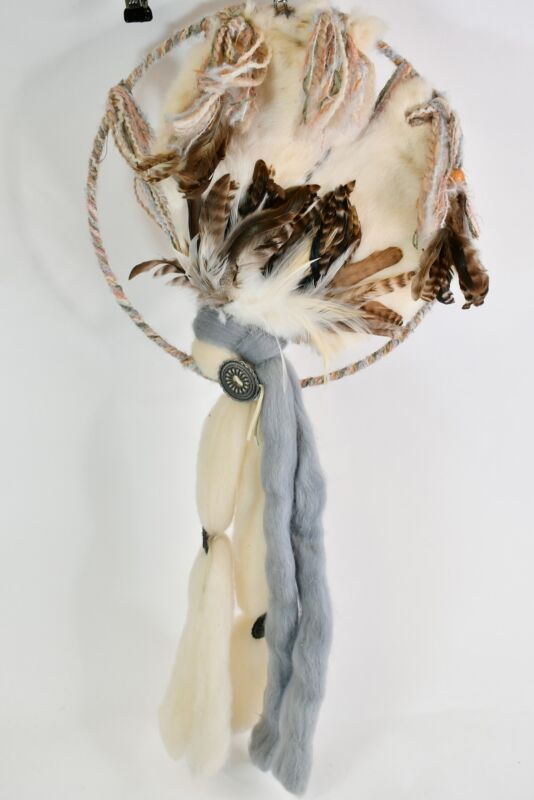 Handcrafted Multicolor Dream Catcher Rabbit Skin Wool Feathers & Yarn Wall Decor