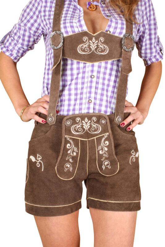 Lederhose for Women short with Suspenders Size 32 - 42 Braun kudc1