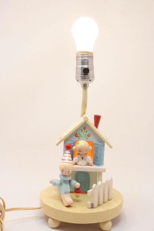 Vintage Nursery Plastics Inc. Wooden Childs Nursery Lamp Light Double Lights