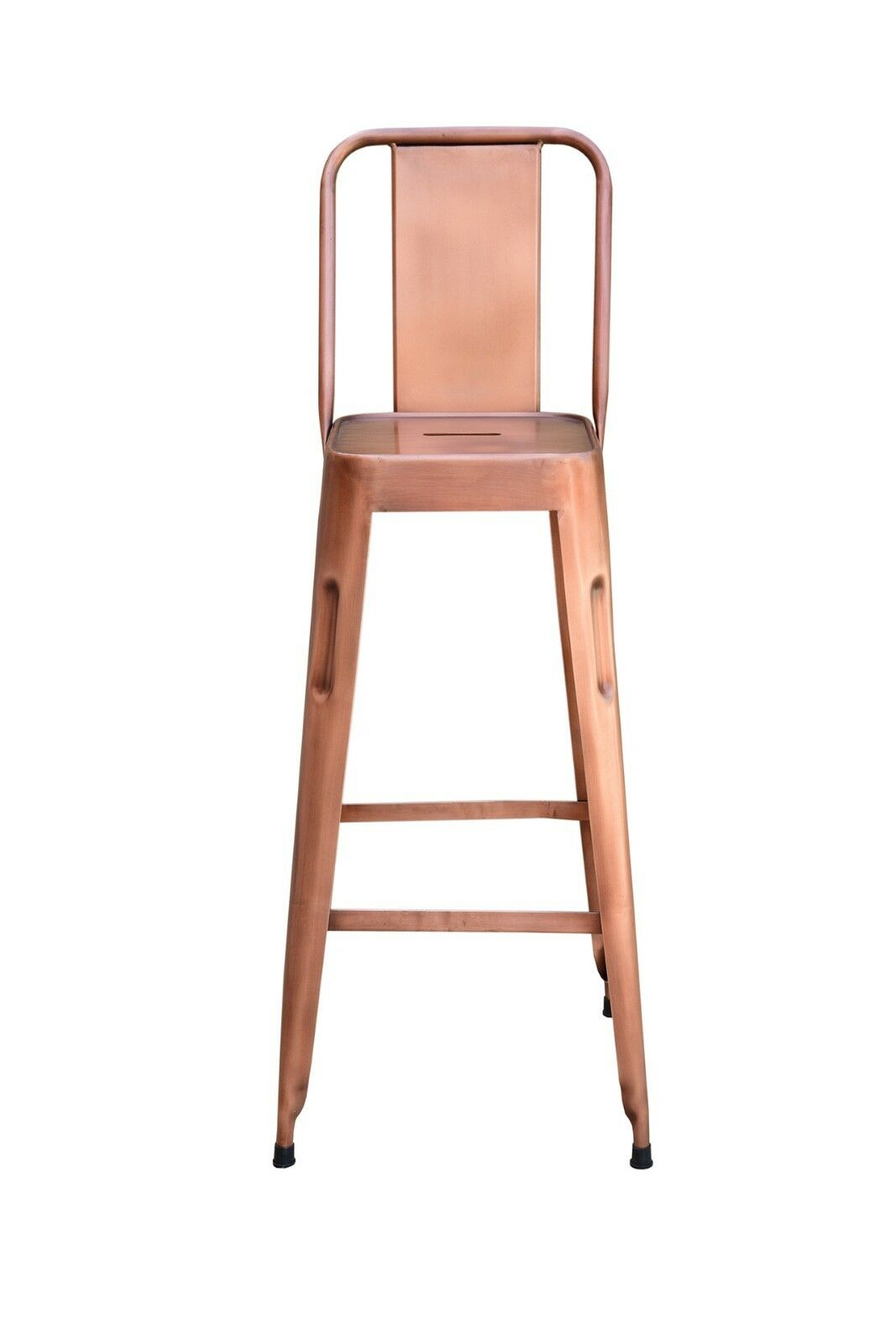 Distressed Metal Barstool With Back, Vintage Copper