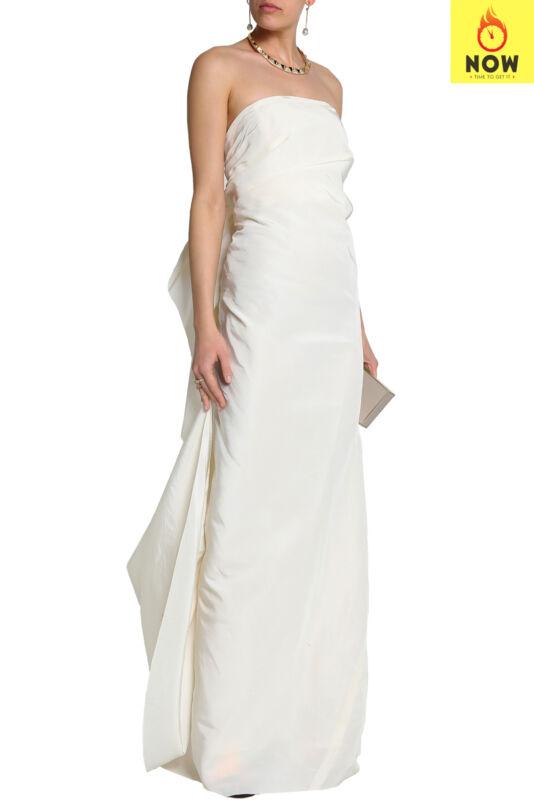 RRP€4765 LANVIN Silk Taffeta Column Wedding Dress Size 36 S Ivory Made in France