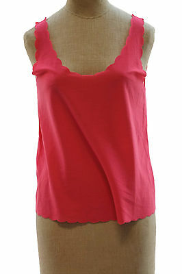 Topshop Women's Pink Scallop Vest Crop Top Basic Knit Shell Career Size 6 U2