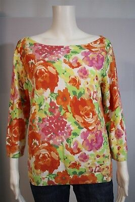 Chaps Misses LARGE Bright Floral Print Cotton Boat Neck 3/4 Sleeve Sweater Shirt