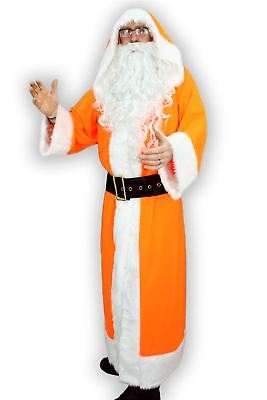Adults Orange Santa Clause Fleece St. Nick Father Christmas Fancy Dress Costume