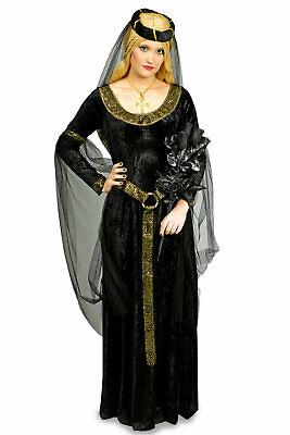 Kostüm schwarze Witwe Ritterdame Gr.36-42 Gothic Mittelalter Karneval Halloween ()