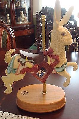 "Tobin Fraley SIGNED Rabbit Carousel Musical Figurine, 12"" tall wooden base[B]"