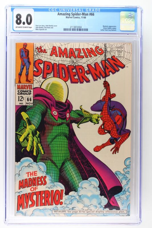Amazing Spider-Man #66 - Marvel 1968 CGC 8.0 Mysterio Appearance. Green Goblin c