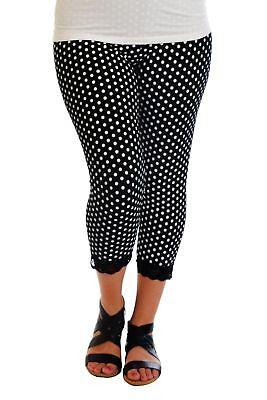 Dot Lace Trim Legging (Womens New Leggings Plus Size Ladies Polka Dot Lace Trim Cuff Trousers Nouvelle )