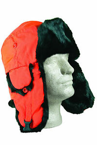 YUKON TRACKS ALASKAN GENUINE RABBIT FUR BLAZE ORANGE HAT HG651/HG652/HG653