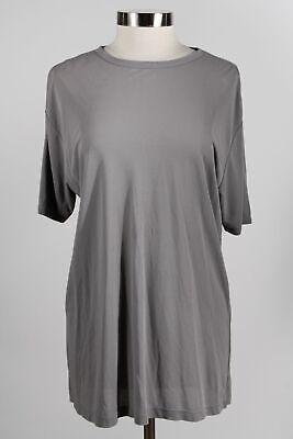 NWT Armani Collezioni Gray Silk Women's Short Sleeve Tunic Long T-Shirt Size L