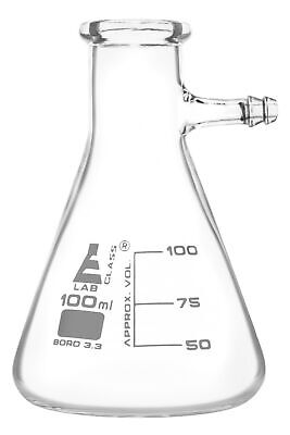 Filtering Flask 100ml - Borosilicate Glass - Integral Side Arm - Eisco Labs