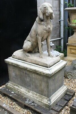 Pair of Life Size English Stoneware Garden Jacquemart Hunting Dogs On Pedestals