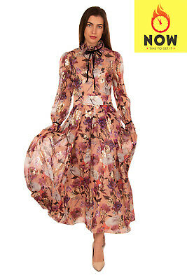 RRP €1330 TEMPERLEY LONDON Maxi Boho Dress Size 10 S-M Silk Blend Floral Pleated