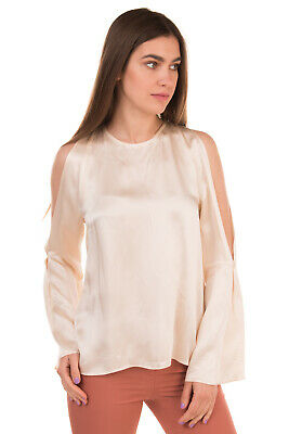 RRP €175 JUCCA Satin Top Blouse Size 42 Cold Shoulder Bell Sleeve Made in Italy