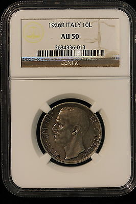 1926 R ITALY. 10 LIRE. NGC GRADED AU 50.