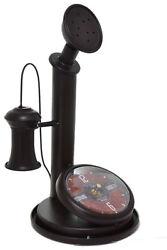 Large 12.5 Retro Phone Telephone Dark Brown Table Mantle Clock Home Decor