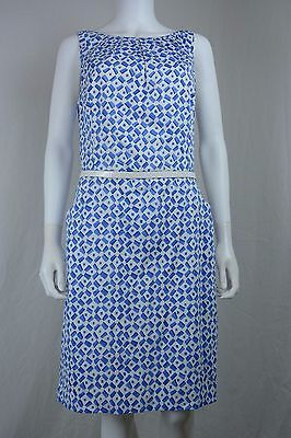Ralph Lauren Womens Size 14 Blue Geo Sleeveless Sheath Dress With Belt Nwt