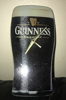 Guinness Beer Draught Pint Shaped Glass Bar Clock