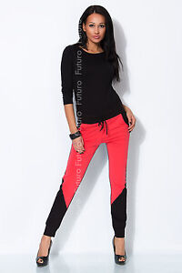 Ladies 2 Coloured Pants Chino Trousers Joggers With Pockets Gym Size 8-12 1068
