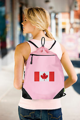Canada Flag Drawstring Bag Canadian Flag Backpack MESH & MICROFIBER  ()
