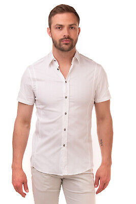 RRP €360 VERSACE Shirt Size 39 M White Short Sleeve Regular Collar Made in Italy