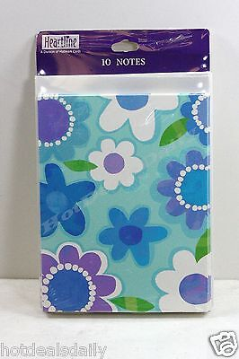 10 PACK OF NOTE CARDS BLUE FLOWER PATTERN GREETING CARD BLANK INSIDE INVITATION
